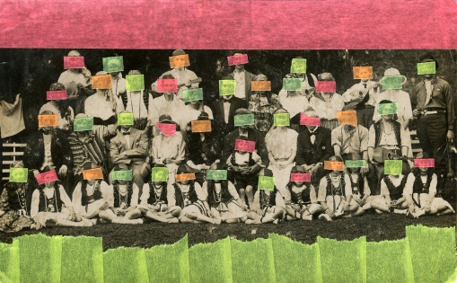 Collage over a vintage group photo decorated using neon washi tape.