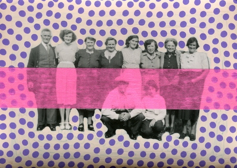 Collage over a vintage group photo.