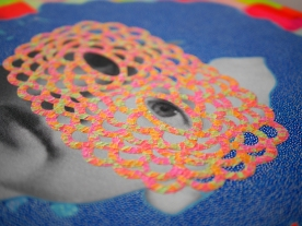 Collage over a large scale print on canvas of a baby girl vintage photo decorated with washi tape, acrylics and pens.