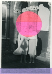Collage over a vintage photo of two women in front of a building.