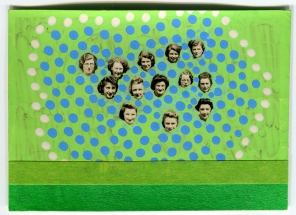 Collage of a vintage group photo of women heads.