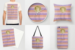 Photo collage of 6 art prints of my artworks available on Society6, T-shirt, wall clock, throw pillow, stationery card, tote bag and iphone skin.