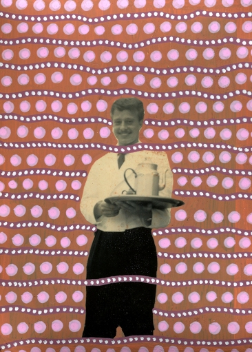 Collage over a portrait photo of a smiling waiter.
