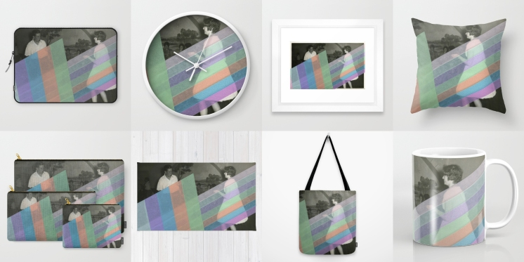 Photo collage of 8 art prints of my artworks available on Society6, laptop sleeve, wall clock, framed art print, throw pillow, set of pouches, rug, tote bag and mug.