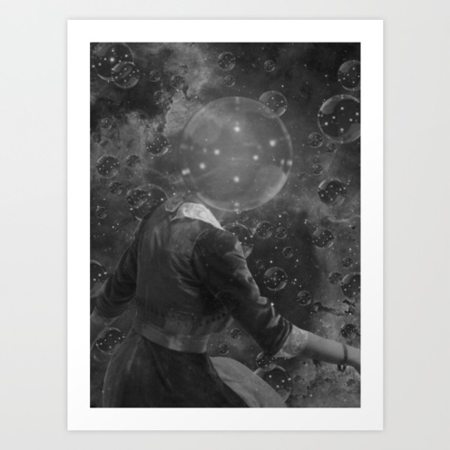 Black and white photo of an headless woman floating into the universe.