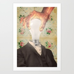 Portrait of a man with a light bulb instead of a head.
