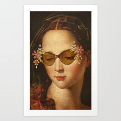 Woman classic paintings with a pair of sunglasses decorated with flowers.