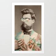 Vintage man portrait with sunglasses.
