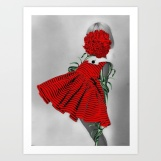 Vintage baby girl portrait with a red dress and the face covered with a red flower.