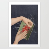 Woman hands image that is covering with red nail polish a man photo.