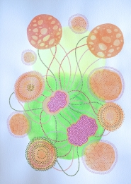 Abstract collage of organic and geometric forms realised using yellow and green neon acrylics and orange and red organic elements drawn with pens.