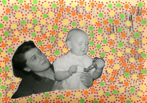 Collage over a mother and son vintage photo portrait.