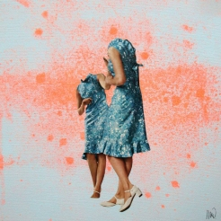 Collage of two elegant headless women surrounded by a colorful fluo red colours splash.