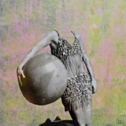 Collage of an headless woman holding a giant ball in her hand.