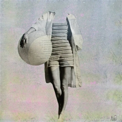 Collage of an headless woman in bath suit holding a giant inflatable ball in her hands.