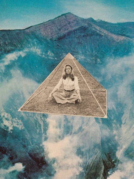 Collage of a woman meditating into a tiny transparent pyramid that is floating in the air.