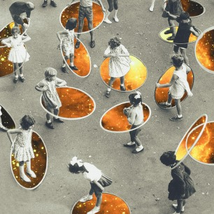 Collage of a group of kids playing with a galactic hula hop.