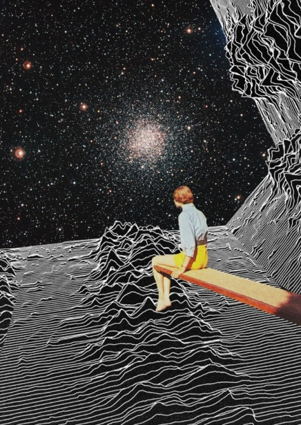 Collage of a woman on a trampoline observing a galactic landscape.