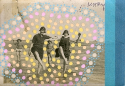 Collage of a vintage found photo of people at the beach.