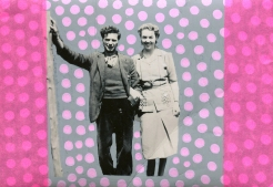 Collage over a vintage photo of a smiling couple.