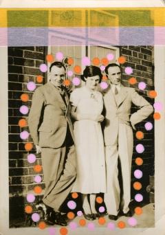 Collage on found retro photo of three people.