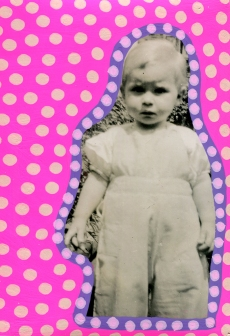 Collage over a vintage photo of a baby girl.
