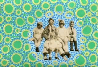 Collage over a vintage kids group photo decorated with pastel colours pens.