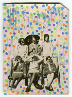Collage on vintage found group photo of smiling women.
