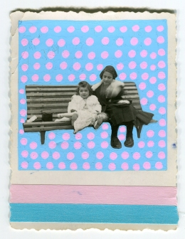 Collage created over a portrait found photo of two baby girls.