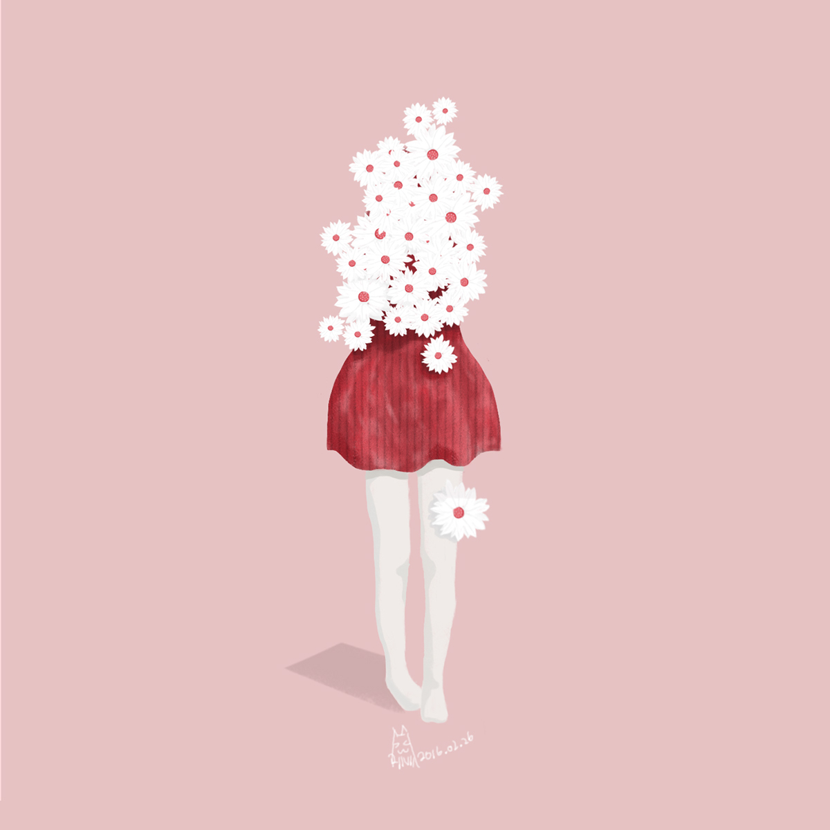 Illustration of a woman with half body covered by flowers.