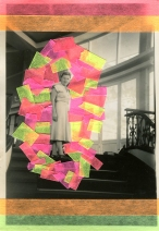 Collage on vintage photo of a woman going upstairs.