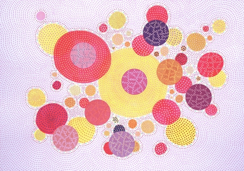 Abstract collage of organic and geometric forms realised using several dotty and circular organic elements.