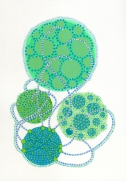 Abstract collage of organic and geometric forms realised using green shades.
