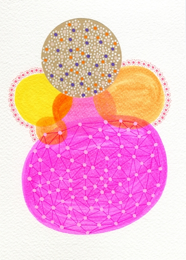 Abstract collage of organic and geometric forms realised using fluorescent highlighters and a brown dotty paper.