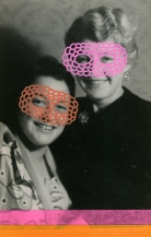 Collage over a vintage portrait of two smiling women decorated with pens and washi tape.