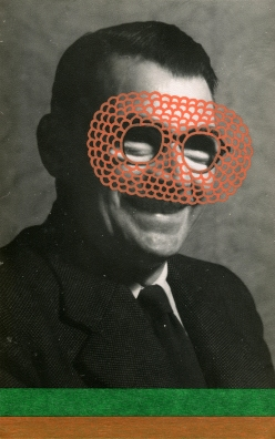 Collage over a vintage smiling man photo decorated with pens and washi tape.