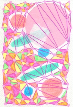 Abstract collage of organic and geometric forms realised using pastel colours and fluorescent shades.