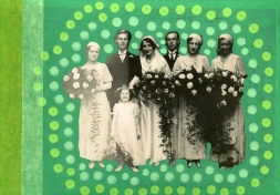 Collage done over a classic group wedding photo.