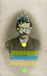 Collage over a vintage man portrait decorated with pens, stickers and washi tape.