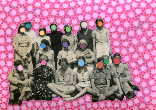 Collage on a vintage group photo.