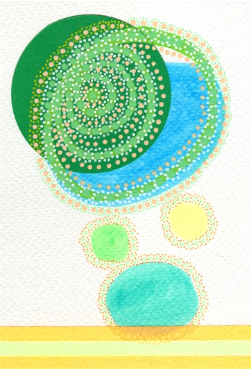 Abstract collage of organic and geometric forms realised with fluorescent orange and yellow washi tape and green and blue highlighters.