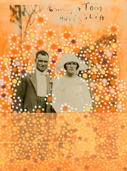 Collage realised over a wedding couple photo.