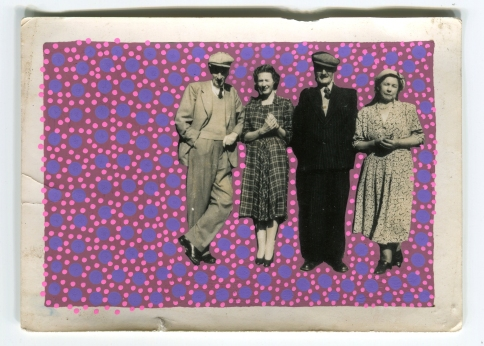 Collage on vintage group photo.