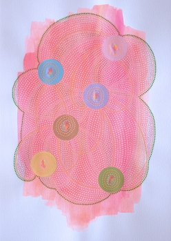 Abstract collage of organic and geometric forms realised with neon pink acrylics and pastel colours circular paper.