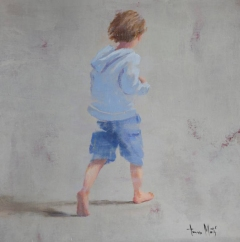 Paintings of a baby boy seen from his back dressed with a light blue shirt and blue short pants.