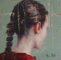 Portrait of a woman head seen from her back.
