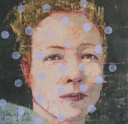 Paintings of a woman face decorated with lilac dots.