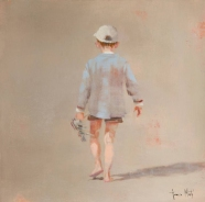 Painting of a full body of a boy seen from his back.