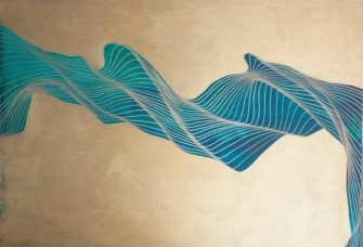 Abstract collage of fluid lines that create a light blue composition over a golden background.