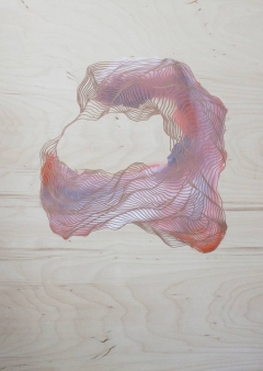 Abstract collage of a fluid lines composition over a wood panel surface.